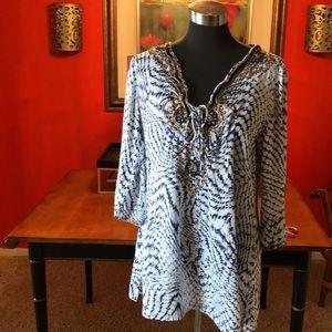 Soft Surroundings beaded cotton blouse